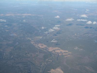 View outside the plane over Saint John area